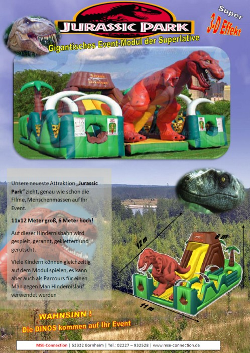 Jurassic Park Hüpfburg mieten MSE-Connection